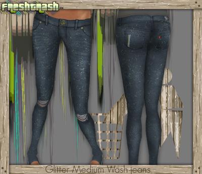 =FT - Glitter Medium Wash Jeans DOLLARBIE