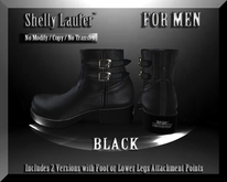 ::: Shelly Laufer Men's Leather Boots [AG Black] :::