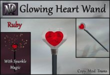 Glowing Heart Wand with Sparkle Magic - Ruby