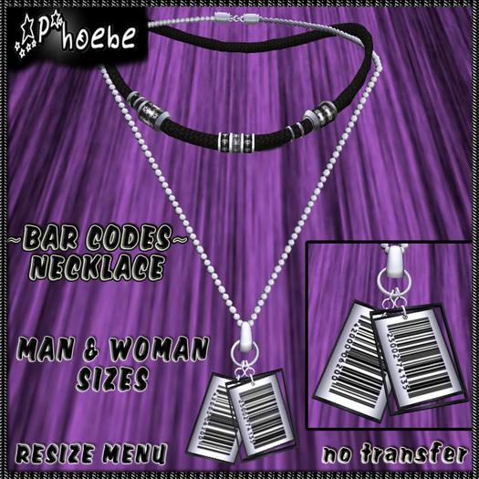 *P* Bar Codes Necklace ~Man/Woman sizes~