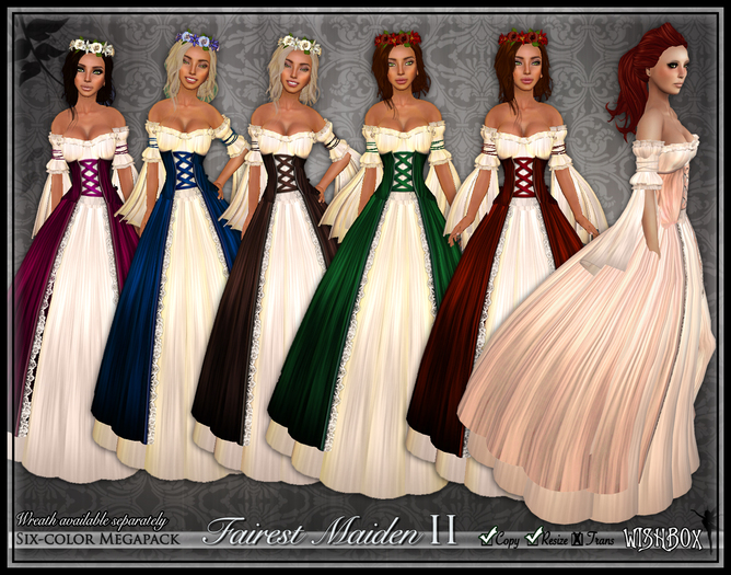 [Wishbox] The Fairest Maiden II (Megapack) - Six Medieval Fantasy Role Play Gowns - Renaissance Dress