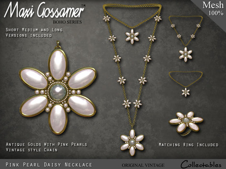 Necklace - Pearl Daisies - Gold Necklace with Pink Pearl Flowers