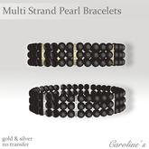 (Caroline's Jewelry) Multi Strand Black Pearl Bracelets