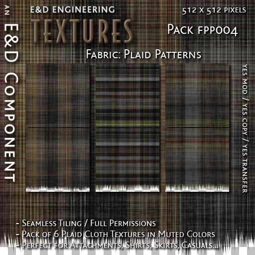 second life marketplace fpp004 6 plaid fabric textures in varied subdued colors for fabric and clothing textures for shirts by e d engineering second life marketplace