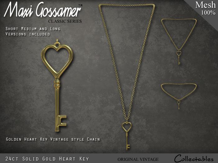 Necklace - Gold Heart Key Pendant