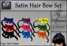 Satin Hair Bow Set - 9 Colors