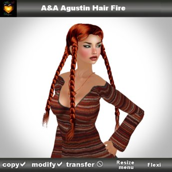 * December 2014 Sale * A&A Agustin Hair Fire (Special Color). Rather slim and tight fit unisex style with 4 braids