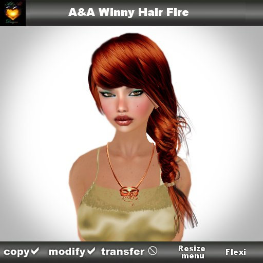 A&A Winny Hair Fire (side braid with colorable bands)