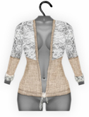 [croire] Spring Fever Cardigan (wheat) (hand drawn jersey knit top with lace detailing) Hipster Vintage Boho Cute Girly