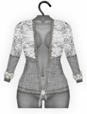 [croire] Spring Fever Cardigan (gray) (hand drawn jersey knit top with lace detailing) Hipster Vintage Boho Cute Girly