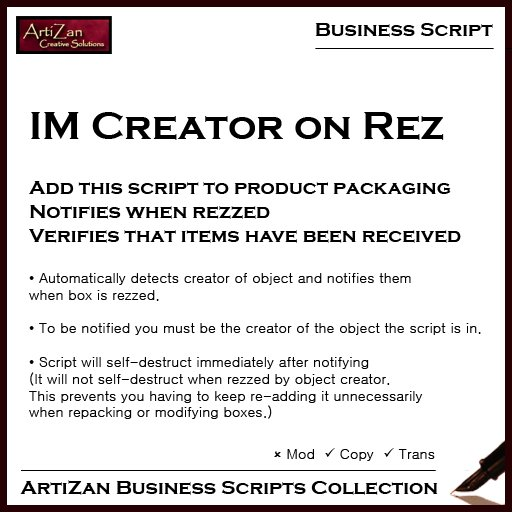 ArtiZan Business Script: IM Creator on Rez - notifies when products are unpacked