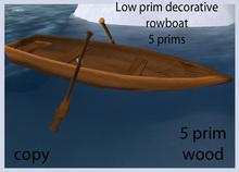 Low prim decorative row boat 5 prims