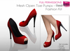 %50SUMMERSALE Full Perm Mesh - Detailed Open Toe Pumps RED - High Heel Shoes - Fashion Kit