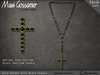 Necklace - Rosary - Black Pearls - Crucifix - Gold Setting