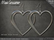 Mesh Earrings - Love Hearts - Silver