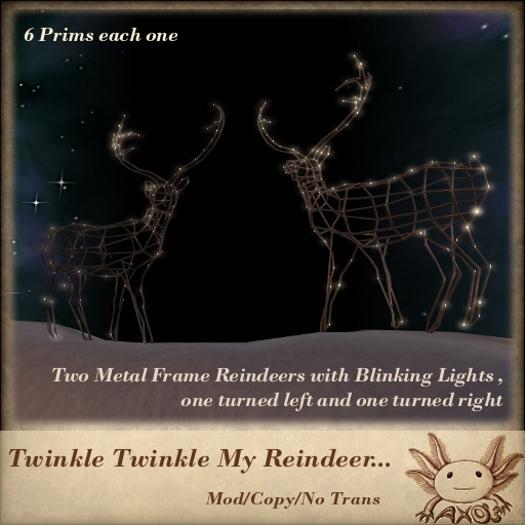 Twinkle Twinkle My Reindeer... (2 Metal Frame Reindeers with Blinking Lights for Christmas - Seasonal Decor))