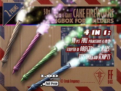 [FFBox] 50 x Normal & Giant Cake Fireworks BigBox {Full Perm} for Builders