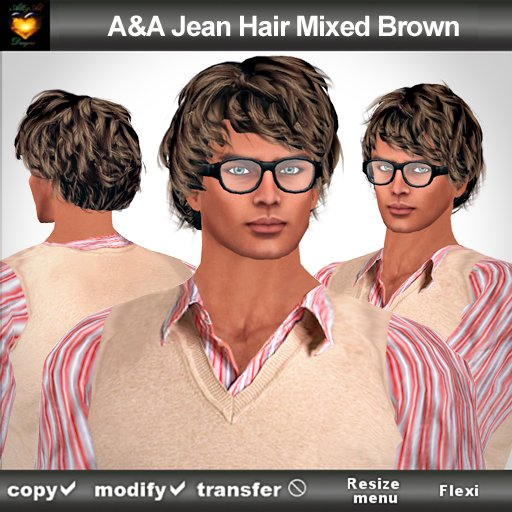 A&A Jean Hair Mixed Brown (Special Color). Modern conservative short wavy men's hairstyle.