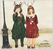 .::Y&R::.Fur collar loose blouse set 2