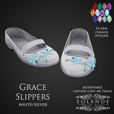 Eolande's Grace Slippers - silver/white