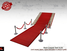 SET OF FULL PERM VIP BARRIER / POLES AND RED CARPET/STAIRS