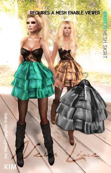 KIM- Party  Mesh Skirt-Silver