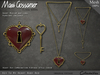 Necklace - Key To My Heart Pendant - Ruby Red