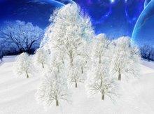 Panoramic frozen winter trees