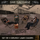 4 Sculpted Grungy Lawn Chairs - trailer trash and urban grunge