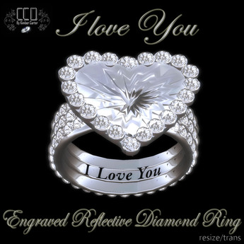 Second Life Marketplace Ccd I Love You Engraved Ring Heart Diamond Ring Valentines Day