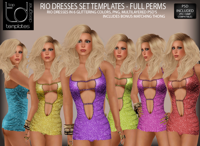 TD TEMPLATES Rio Dresses Set Templates PNG & PSD FILES  - FULL PERMISSIONS