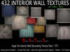 432 INTERIOR TEXTURES, Designer Variety Pack, Seamless Vivid, Wallpaper, Metal and Fabric Interior wall textures FIT1