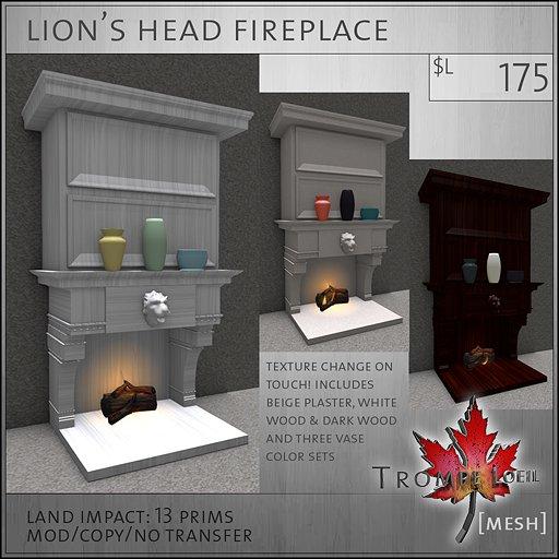 Trompe Loeil - Lion's Head Fireplace [mesh]