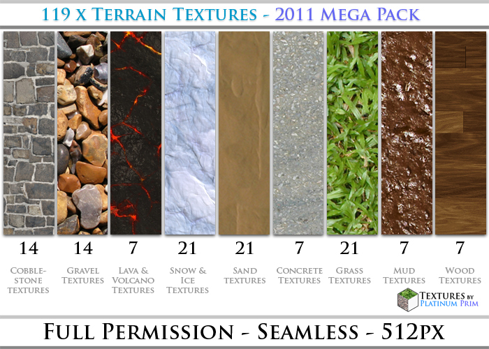 Terrain Textures Mega Pack: 119 Seamless Grass, Cobblestone, Brick, Dirt, Gravel, Ice