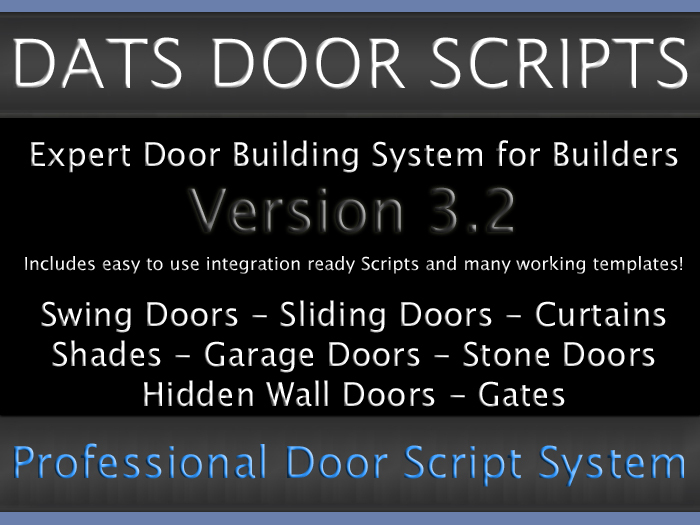 DATS Professional Door Script Door Scripts pack for Builders Transferable Door Script V3.2.8 * Expert Door building Set