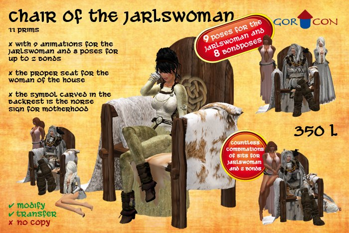 Chair of the Jarlswoman - Torvaldsland,Viking,Medieval,rustic
