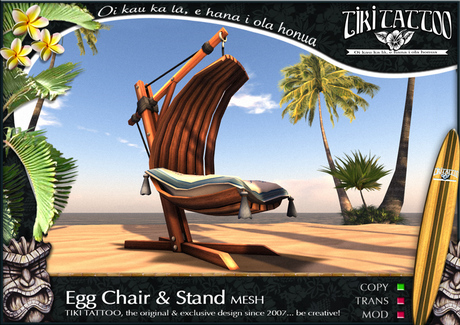 Egg Chair Rotan.Second Life Marketplace Tiki Tattoo Copy Egg Chair With