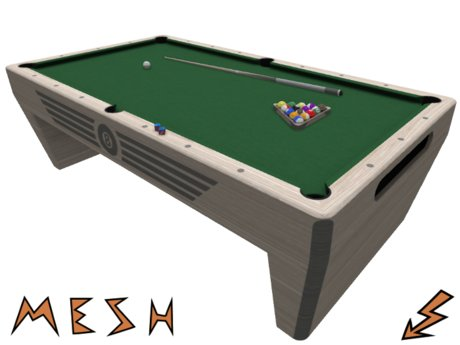 Mesh Pool Table with Cue Sticks, Cue Rack, Balls, Ball Rack and Chalk