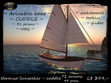 Boat Sunseeker cuddle - 118 anims - drivable version - rezzer - static version