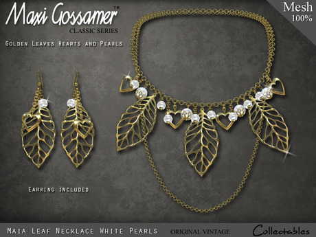 Necklace - Maia - Golden Leaves Hearts and White Pearls
