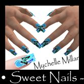 Long Nails Color Blue Butterfly Collection