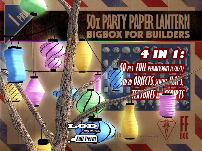[FFBox] 50 x Party Paper Lantern BigBox {Full Perm} for Builders