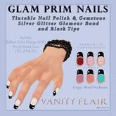 GLAM Prim Nails - Glamour Glitter w Black Tips Tintable Gems & Polish