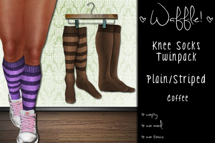 Waffle! Knee Socks Twinpack - Plain/Striped [coffee]