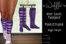 Waffle! Knee Socks Twinpack - Plain/Striped [royal purple]
