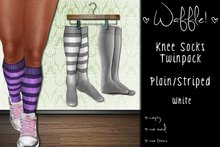 Waffle! Knee Socks Twinpack - Plain/Striped [white]