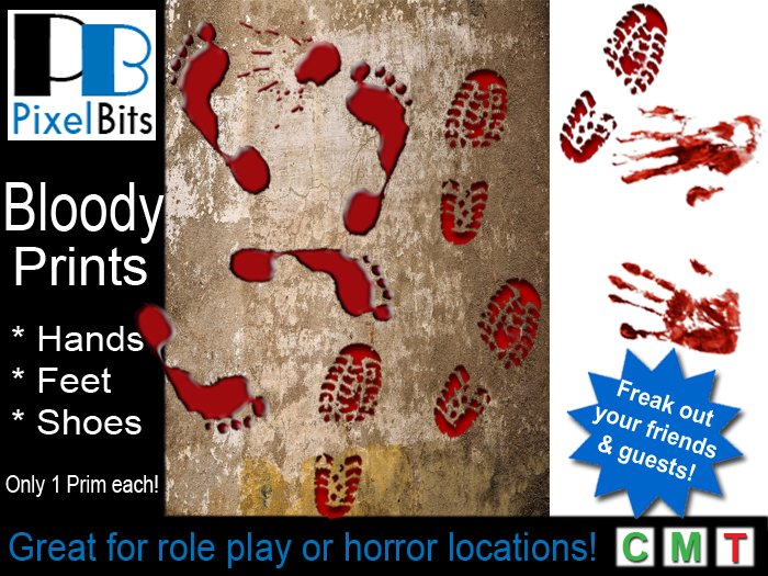 Second Life Marketplace - Bloody Prints - hands & feet. Only 1 prim each!