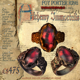 """(Transferable) """"Foy Porter"""" Unisex Ring, Ruby (3 different metals)"""
