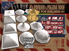 [FFBox] 25x Pavilion & Pagoda Roof Shapes-01 {MESH+Sculpt+Maps+Shadow, CMT} for Builders