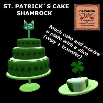 Cool Second Life Marketplace St Patrick Cake Shamrock Birthday Cards Printable Trancafe Filternl